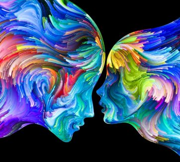 Composition of Human profiles and swirls of colorful paint on the subject of emotion, passion, desire, feelings, inner world, imagination and creativity