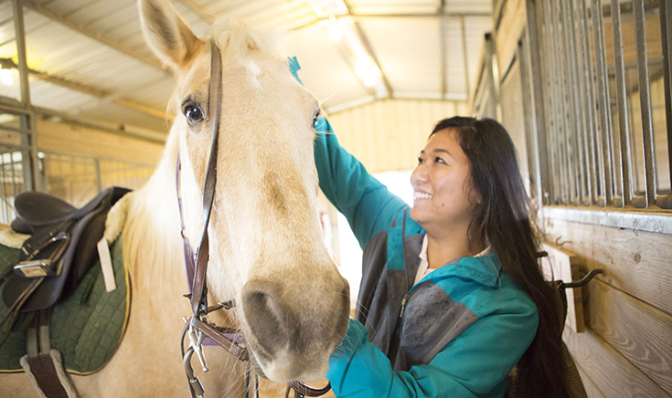 young woman with horse in equine therapy
