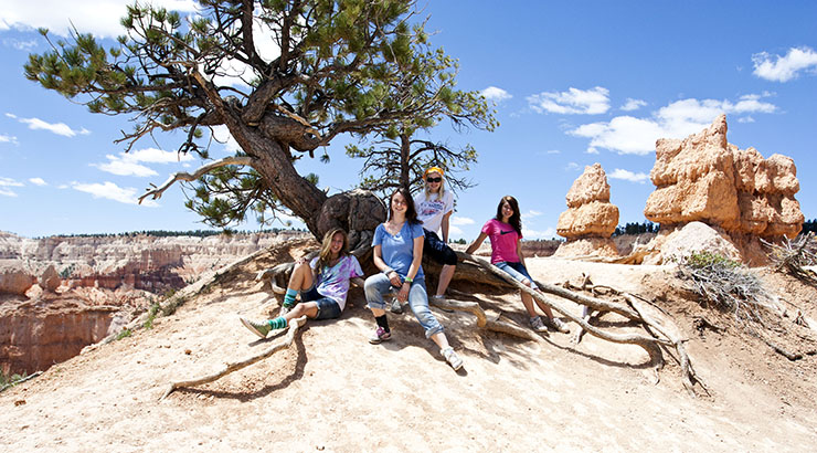 four teenage girls sitting under a scraggly tree in a rocky desert